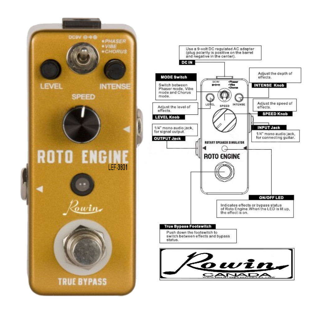 Rowin Lef 3801 Roto Engine Phaser Vibe Chorus Music Express Canada Wiring A 1 4 Out Put Jack